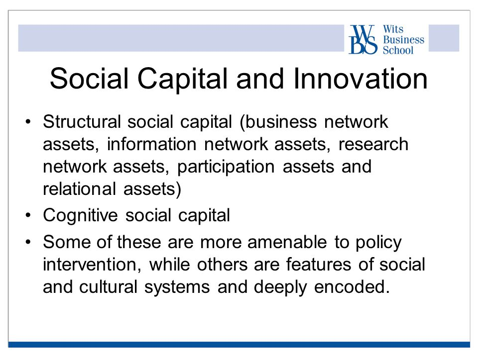 Social Capital and Innovation Structural social capital (business network assets, information network assets, research network assets, participation assets and relational assets) Cognitive social capital Some of these are more amenable to policy intervention, while others are features of social and cultural systems and deeply encoded.