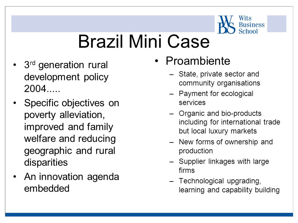 Brazil Mini Case 3 rd generation rural development policy 2004.....