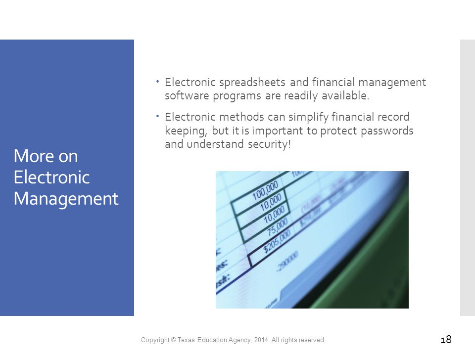 More on Electronic Management  Electronic spreadsheets and financial management software programs are readily available.