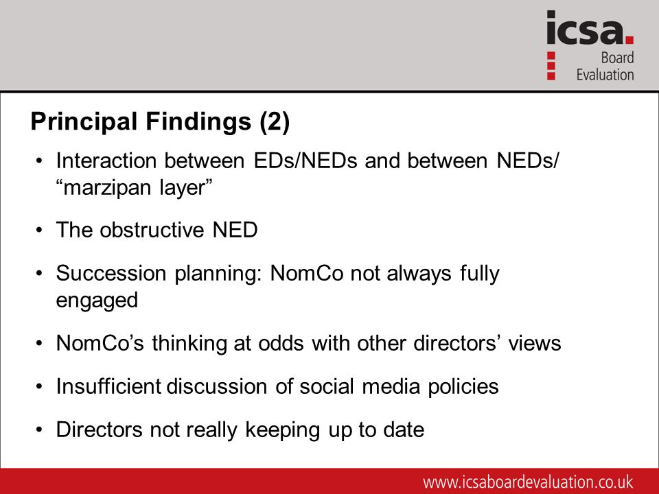 Principal Findings (2) Interaction between EDs/NEDs and between NEDs/ marzipan layer The obstructive NED Succession planning: NomCo not always fully engaged NomCo's thinking at odds with other directors' views Insufficient discussion of social media policies Directors not really keeping up to date