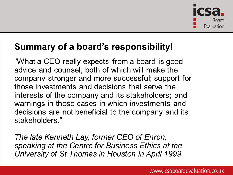 Summary of a board's responsibility.