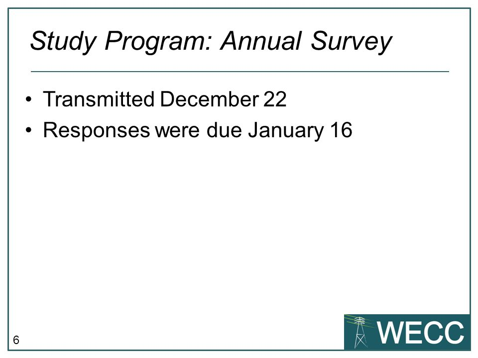 6 Transmitted December 22 Responses were due January 16 Study Program: Annual Survey