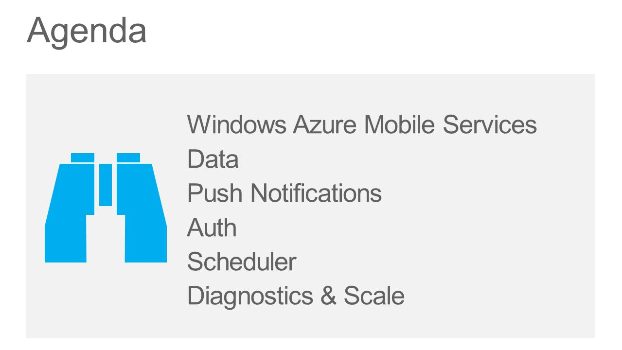 Data Push Notifications Auth Scheduler Diagnostics & Scale Agenda