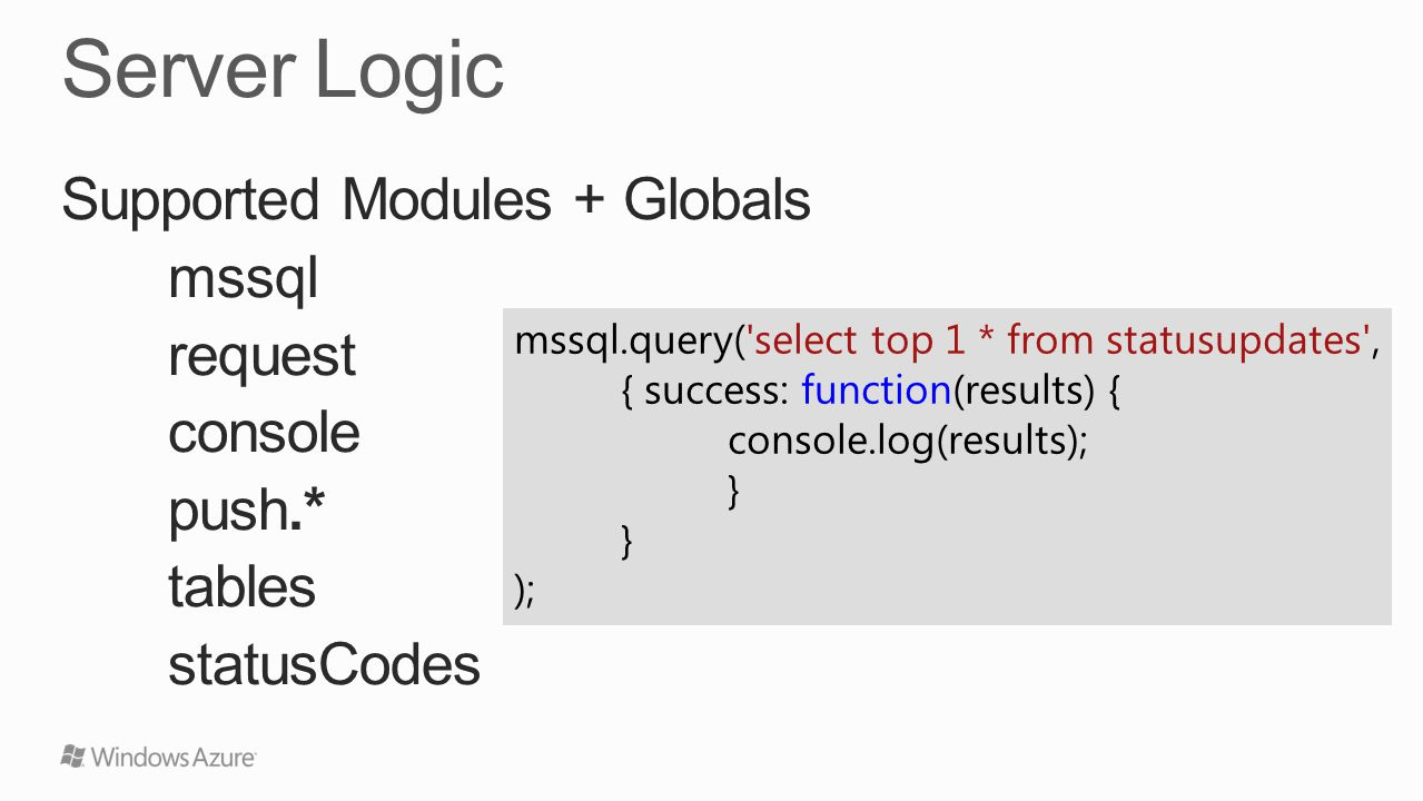 Supported Modules + Globals mssql request console push.* tables statusCodes mssql.query( select top 1 * from statusupdates , { success: function(results) { console.log(results); } );