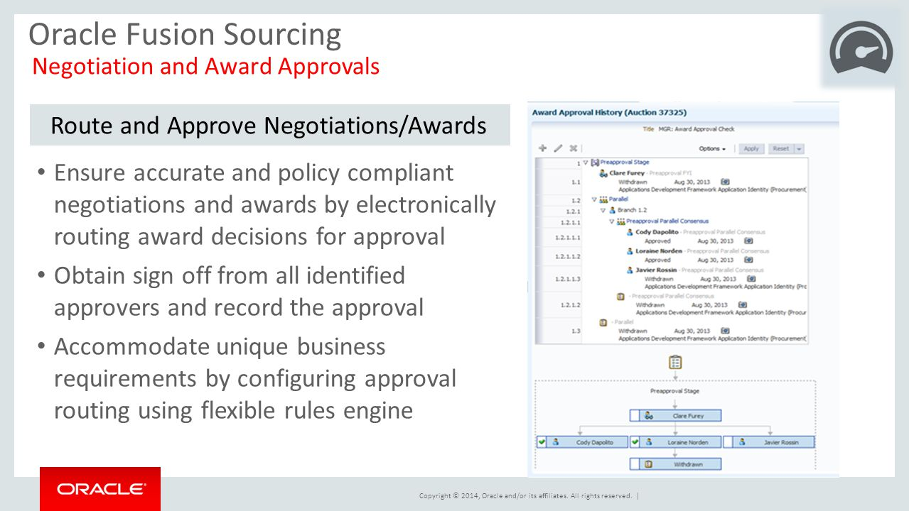 Copyright © 2014, Oracle and/or its affiliates. All rights reserved.   Oracle Fusion Sourcing Negotiation and Award Approvals Route and Approve Negoti