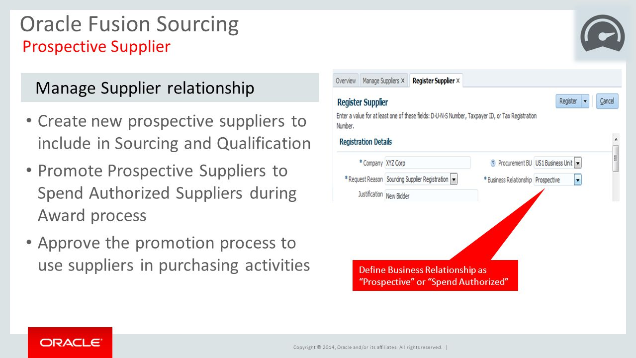 Copyright © 2014, Oracle and/or its affiliates. All rights reserved.   Oracle Fusion Sourcing Prospective Supplier Manage Supplier relationship Create