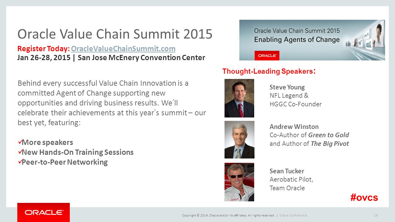 Copyright © 2014, Oracle and/or its affiliates. All rights reserved.   Oracle Value Chain Summit 2015 Oracle Confidential29 Behind every successful Va