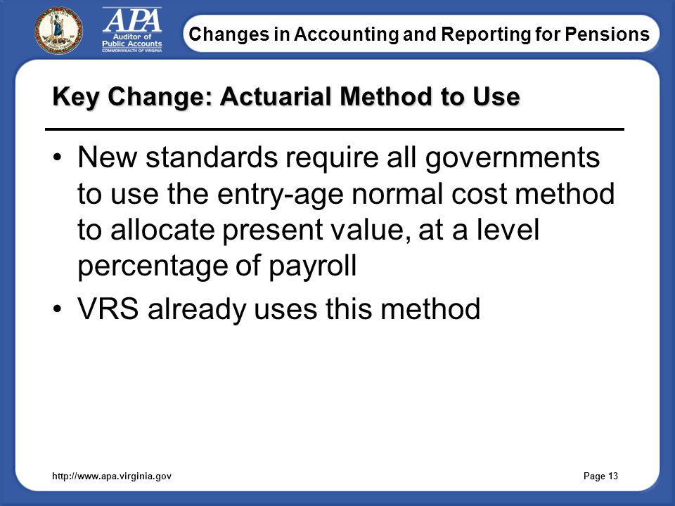 Changes in Accounting and Reporting for Pensions Key Change: Actuarial Method to Use New standards require all governments to use the entry-age normal cost method to allocate present value, at a level percentage of payroll VRS already uses this method http://www.apa.virginia.gov Page 13