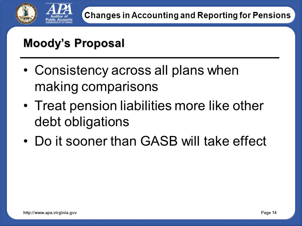Changes in Accounting and Reporting for Pensions Moody's Proposal Consistency across all plans when making comparisons Treat pension liabilities more like other debt obligations Do it sooner than GASB will take effect http://www.apa.virginia.gov Page 14