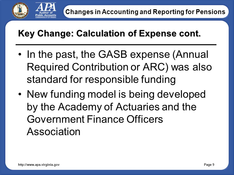 Changes in Accounting and Reporting for Pensions Key Change: Calculation of Expense cont.