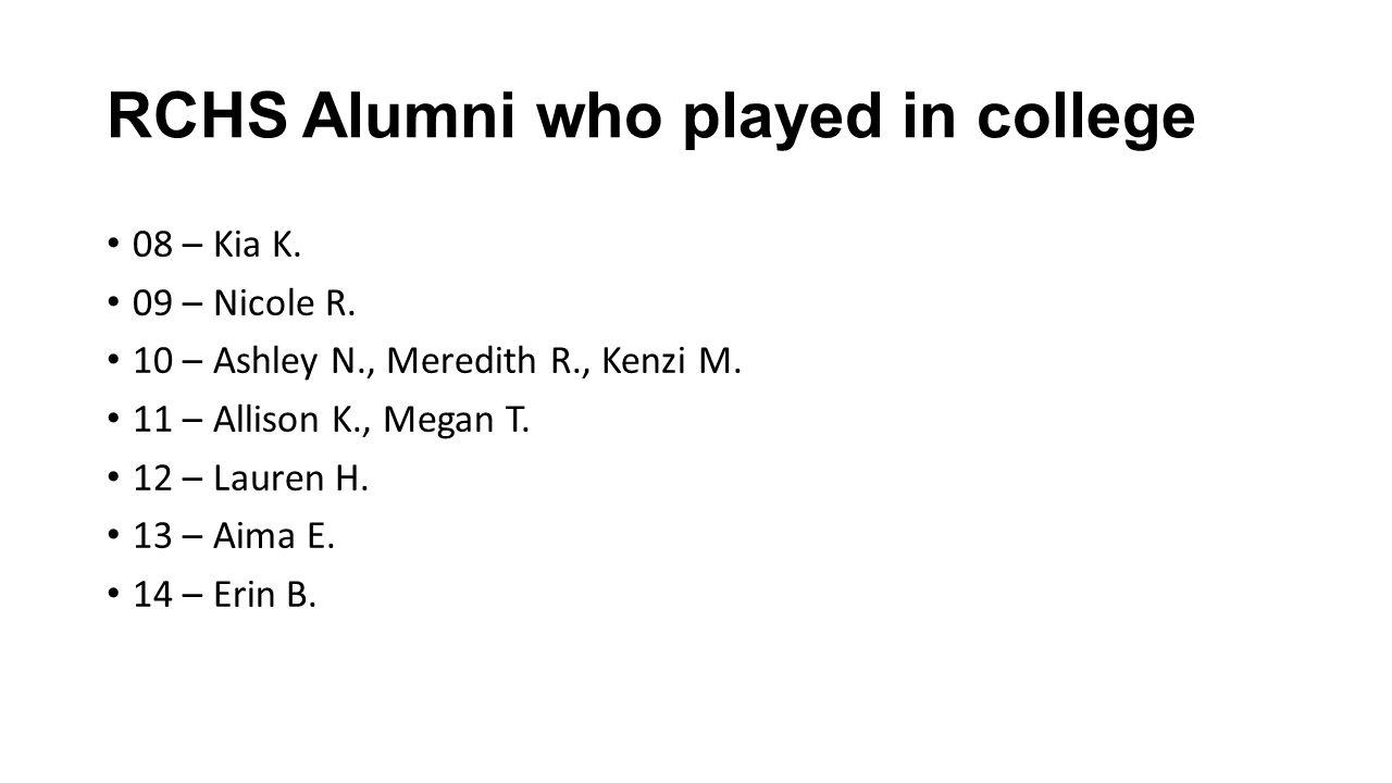 RCHS Alumni who played in college 08 – Kia K. 09 – Nicole R.