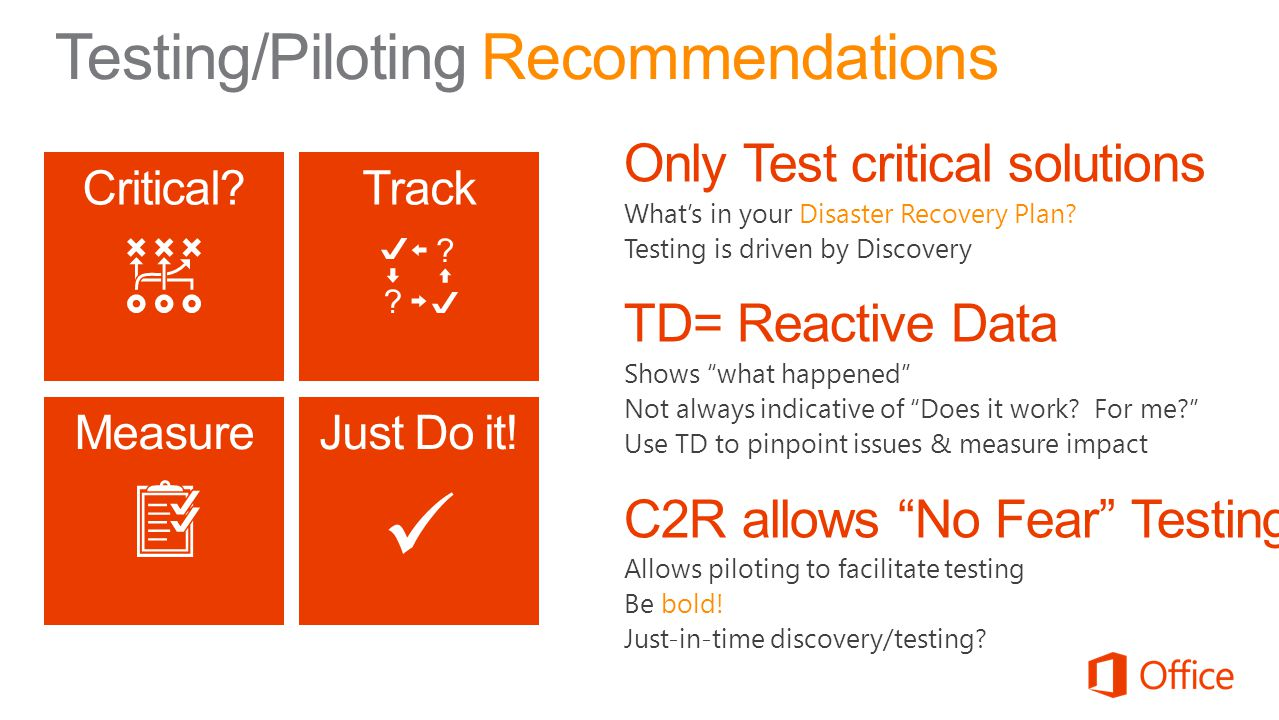 Testing/Piloting Recommendations Critical?Track MeasureJust Do it!