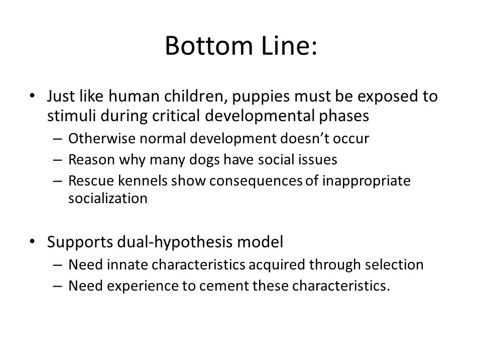 Bottom Line: Just like human children, puppies must be exposed to stimuli during critical developmental phases – Otherwise normal development doesn't occur – Reason why many dogs have social issues – Rescue kennels show consequences of inappropriate socialization Supports dual-hypothesis model – Need innate characteristics acquired through selection – Need experience to cement these characteristics.