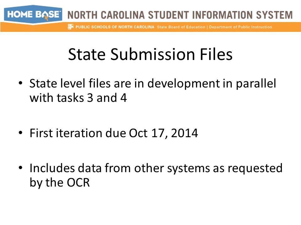 State Submission Files State level files are in development in parallel with tasks 3 and 4 First iteration due Oct 17, 2014 Includes data from other systems as requested by the OCR