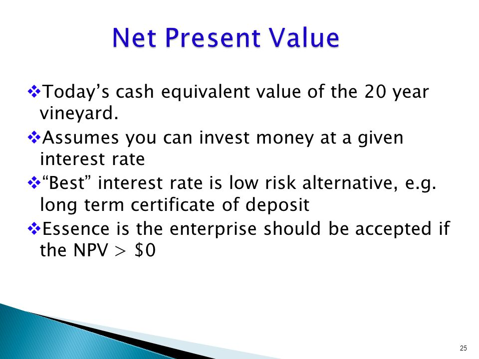 """ Today's cash equivalent value of the 20 year vineyard.  Assumes you can invest money at a given interest rate  """"Best"""" interest rate is low risk al"""