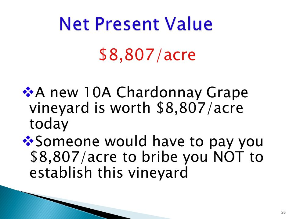 $8,807/acre  A new 10A Chardonnay Grape vineyard is worth $8,807/acre today  Someone would have to pay you $8,807/acre to bribe you NOT to establish this vineyard 26