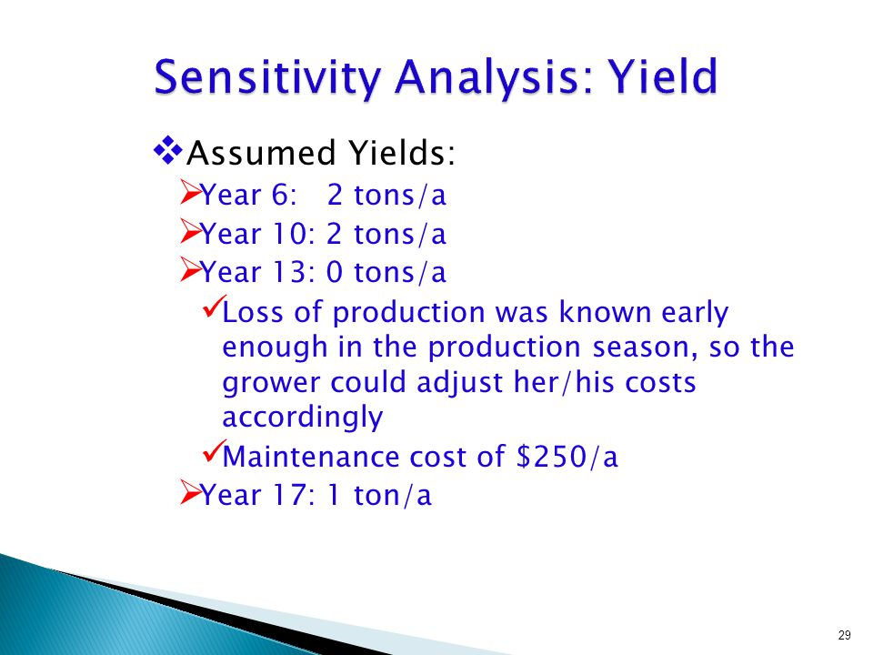 Assumed Yields:  Year 6: 2 tons/a  Year 10: 2 tons/a  Year 13: 0 tons/a Loss of production was known early enough in the production season, so the grower could adjust her/his costs accordingly Maintenance cost of $250/a  Year 17: 1 ton/a 29