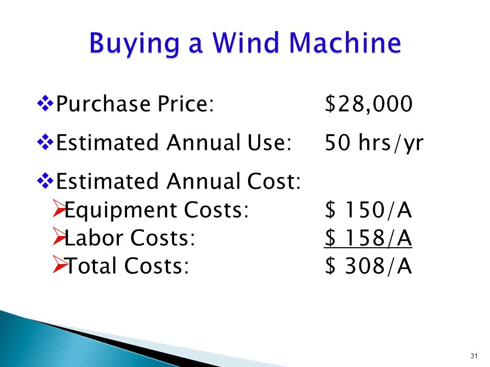  Purchase Price: $28,000  Estimated Annual Use: 50 hrs/yr  Estimated Annual Cost:  Equipment Costs: $ 150/A  Labor Costs: $ 158/A  Total Costs: