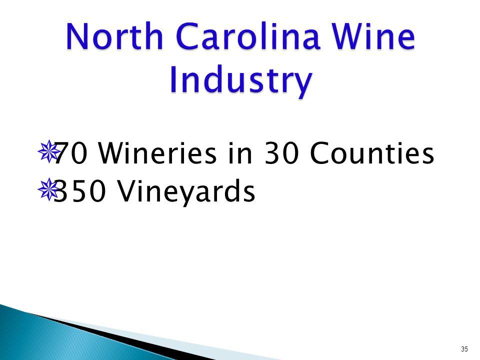  70 Wineries in 30 Counties  350 Vineyards 35