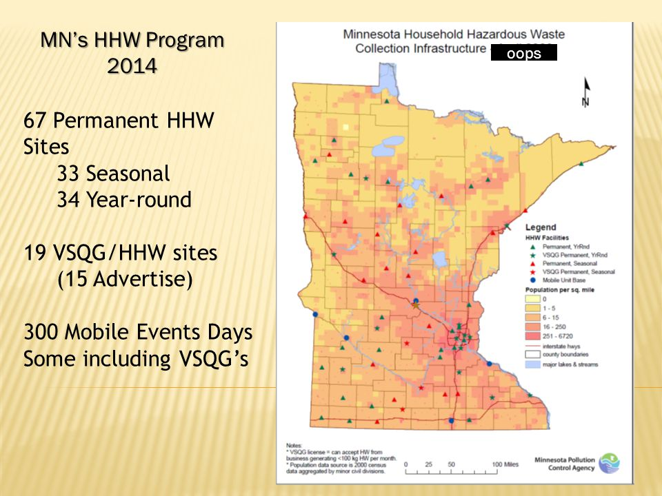 oops 67 Permanent HHW Sites 33 Seasonal 34 Year-round 19 VSQG/HHW sites (15 Advertise) 300 Mobile Events Days Some including VSQG's MN's HHW Program 2014