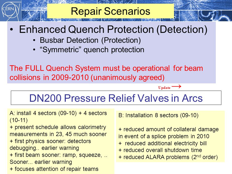 DN200 Pressure Relief Valves in Arcs December 2008 Repair Scenarios Enhanced Quench Protection (Detection) Busbar Detection (Protection) Symmetric quench protection The FULL Quench System must be operational for beam collisions in 2009-2010 (unanimously agreed) B: Installation 8 sectors (09-10) + reduced amount of collateral damage in event of a splice problem in 2010 + reduced additional electricity bill + reduced overall shutdown time + reduced ALARA problems (2 nd order) A: install 4 sectors (09-10) + 4 sectors (10-11) + present schedule allows calorimetry measurements in 23, 45 much sooner + first physics sooner: detectors debugging..