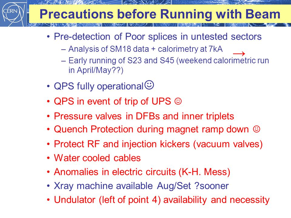 Precautions before Running with Beam Pre-detection of Poor splices in untested sectors –Analysis of SM18 data + calorimetry at 7kA –Early running of S23 and S45 (weekend calorimetric run in April/May ) QPS fully operational ☺ QPS in event of trip of UPS ☺ Pressure valves in DFBs and inner triplets Quench Protection during magnet ramp down ☺ Protect RF and injection kickers (vacuum valves) Water cooled cables Anomalies in electric circuits (K-H.