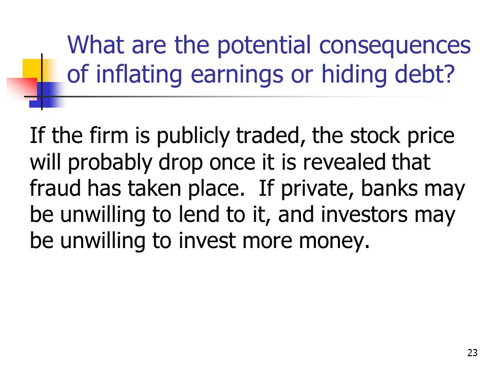 23 If the firm is publicly traded, the stock price will probably drop once it is revealed that fraud has taken place.