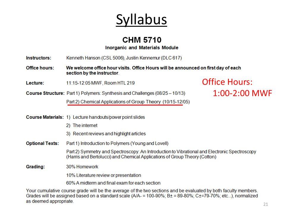 Syllabus 21 Office Hours: 1:00-2:00 MWF