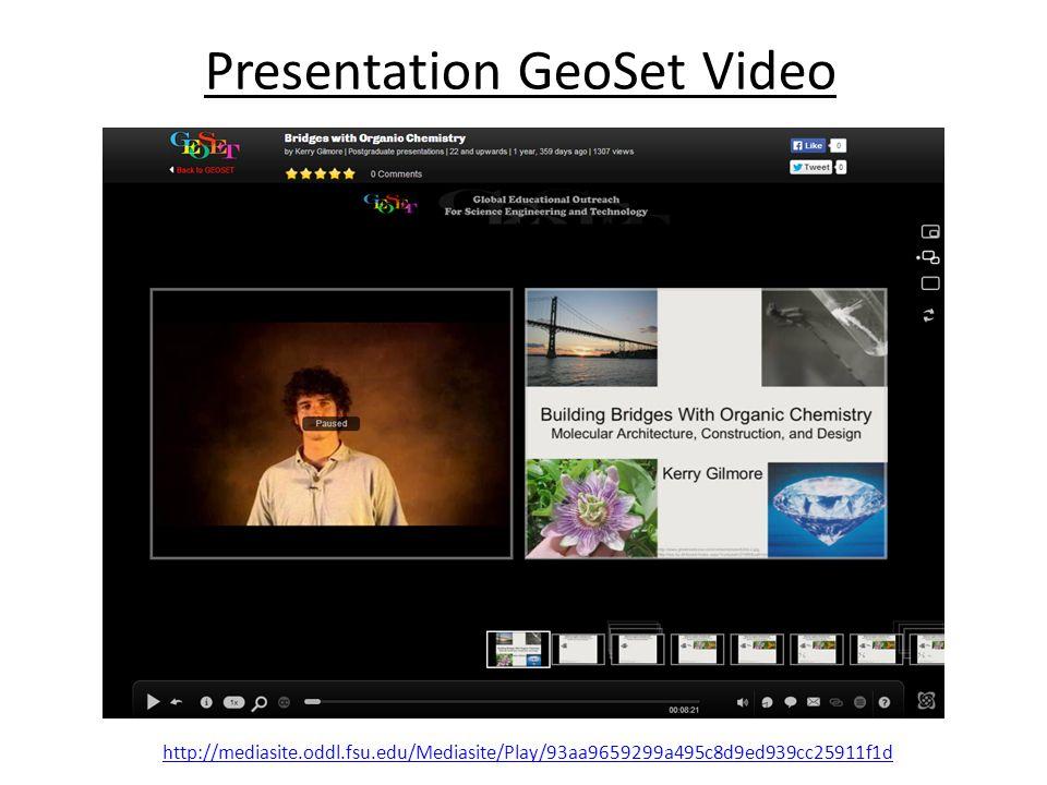 Presentation GeoSet Video http://mediasite.oddl.fsu.edu/Mediasite/Play/93aa9659299a495c8d9ed939cc25911f1d