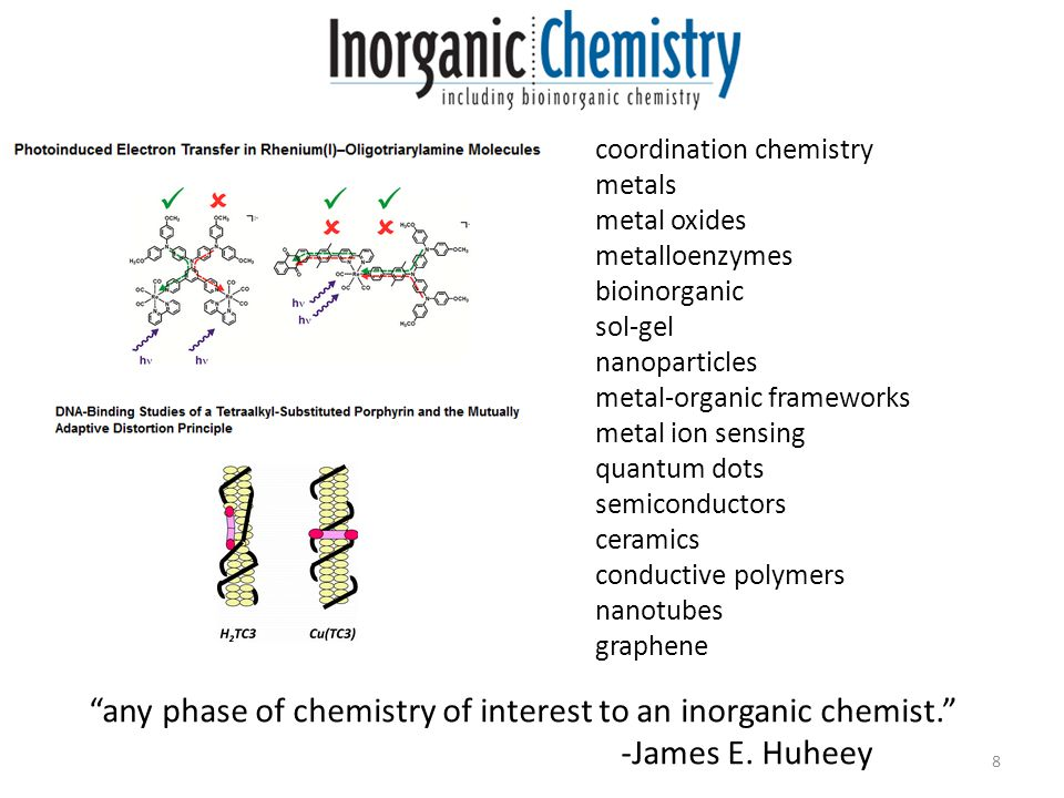 8 coordination chemistry metals metal oxides metalloenzymes bioinorganic sol-gel nanoparticles metal-organic frameworks metal ion sensing quantum dots semiconductors ceramics conductive polymers nanotubes graphene any phase of chemistry of interest to an inorganic chemist. -James E.