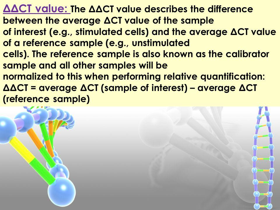 ΔCT value: is the difference between the CT value of the target gene and the CT value of the corresponding endogenous reference gene, such as a housek