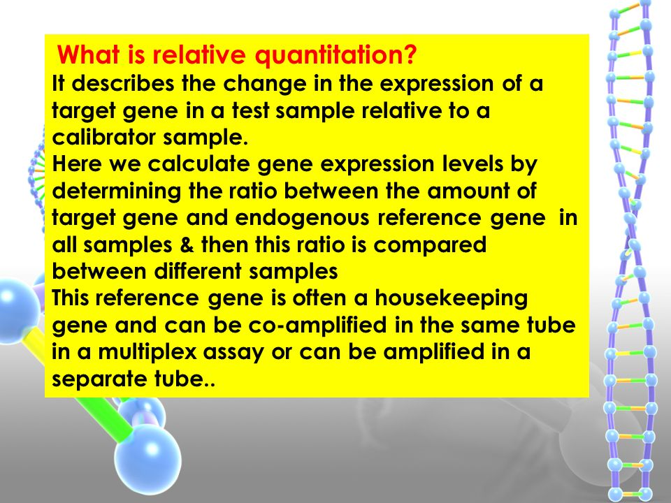 What is Absolute Quantitation?   Standard curve is formed of a plot of Ct values of different standard dilutions against log conc of standard