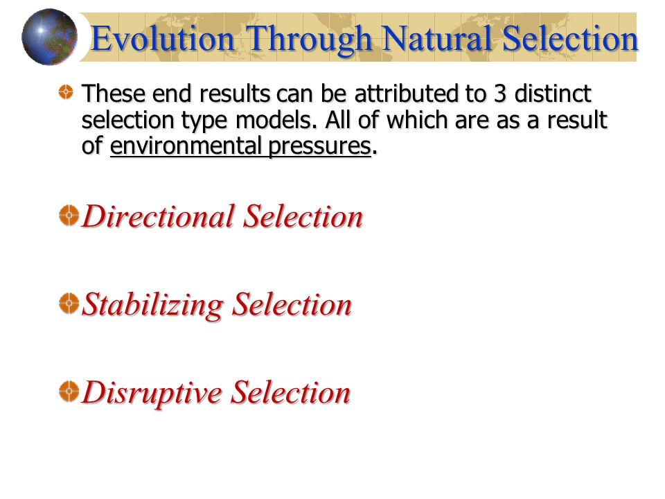 These end results can be attributed to 3 distinct selection type models. All of which are as a result of environmental pressures. Directional Selectio