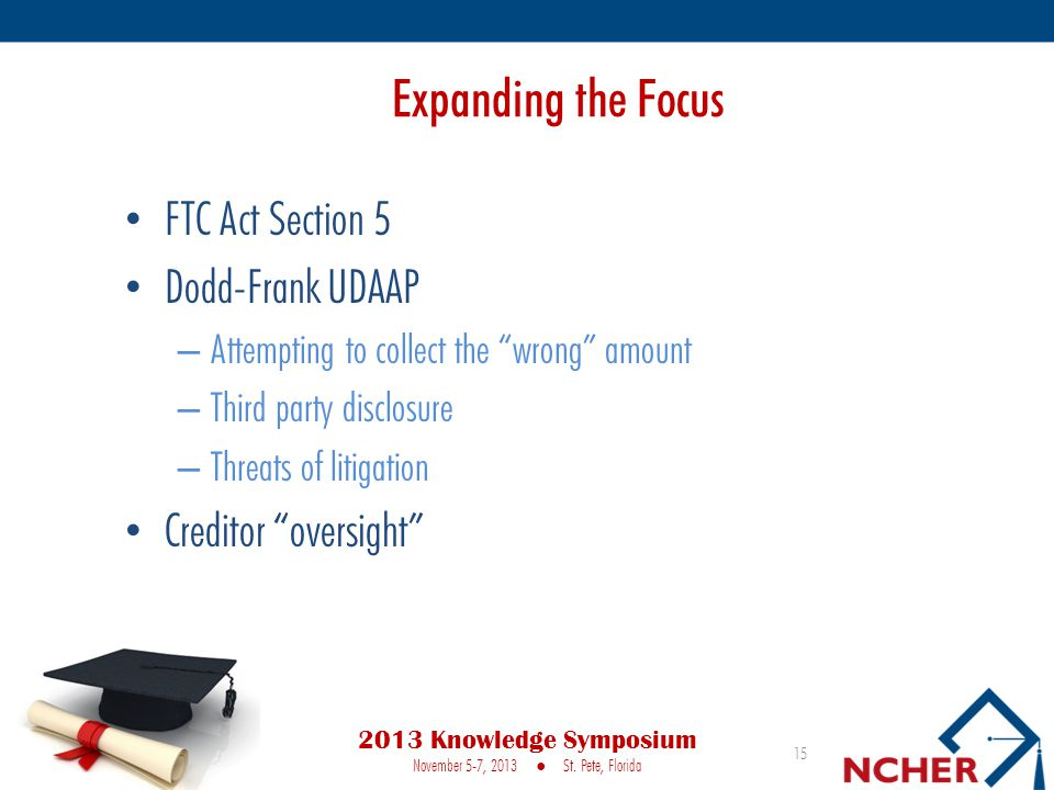 Expanding the Focus FTC Act Section 5 Dodd-Frank UDAAP – Attempting to collect the wrong amount – Third party disclosure – Threats of litigation Creditor oversight 15 2013 Knowledge Symposium November 5-7, 2013 ● St.
