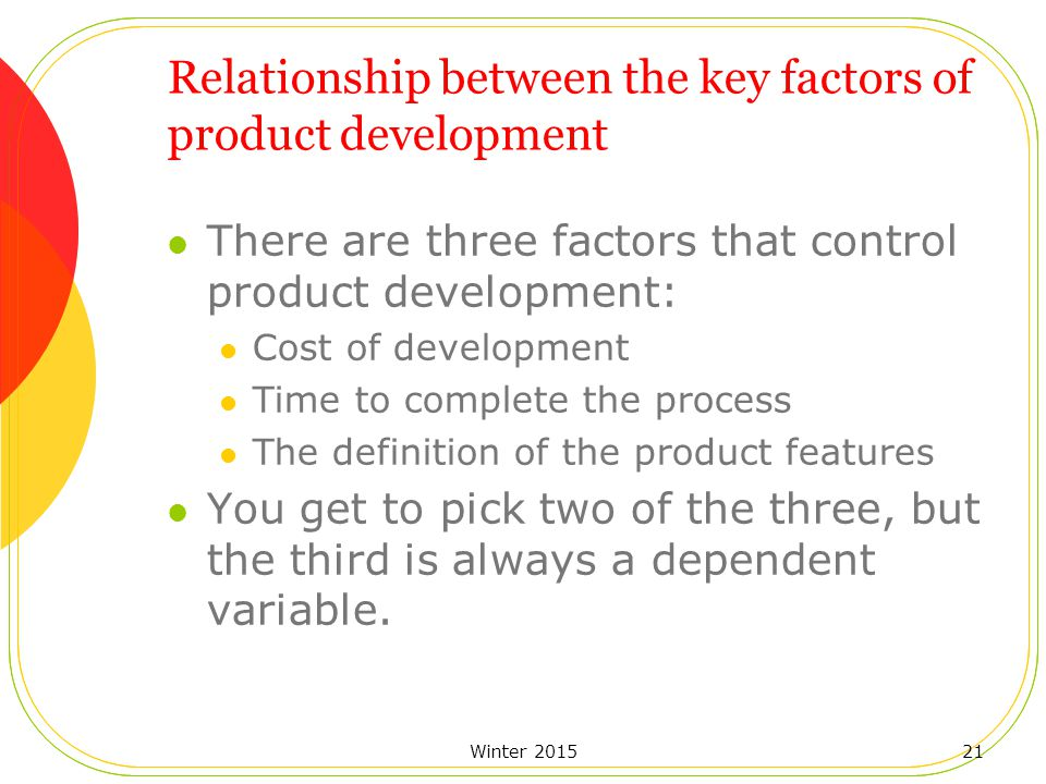 Winter 201521 Relationship between the key factors of product development There are three factors that control product development: Cost of development Time to complete the process The definition of the product features You get to pick two of the three, but the third is always a dependent variable.