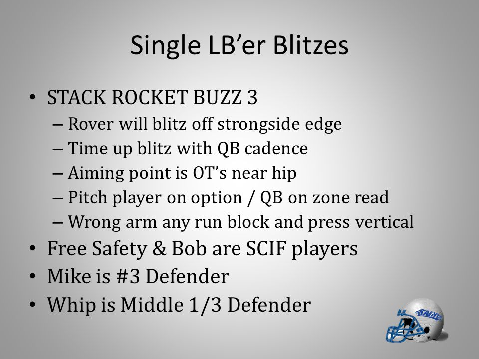 Single LB'er Blitzes STACK ROCKET BUZZ 3 – Rover will blitz off strongside edge – Time up blitz with QB cadence – Aiming point is OT's near hip – Pitc