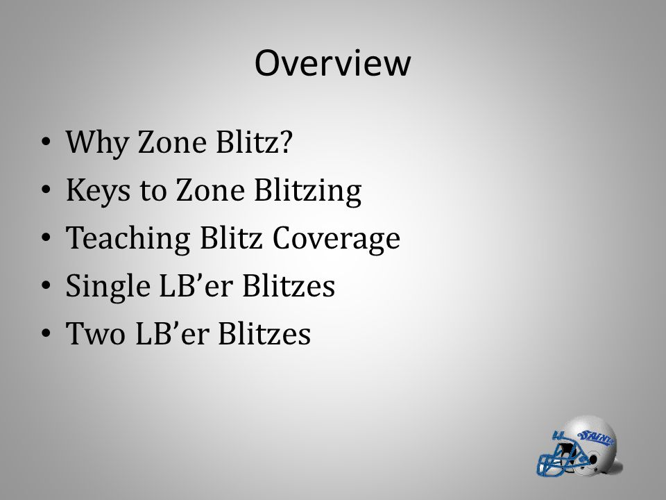 Overview Why Zone Blitz? Keys to Zone Blitzing Teaching Blitz Coverage Single LB'er Blitzes Two LB'er Blitzes