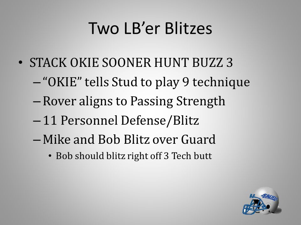 "Two LB'er Blitzes STACK OKIE SOONER HUNT BUZZ 3 – ""OKIE"" tells Stud to play 9 technique – Rover aligns to Passing Strength – 11 Personnel Defense/Blit"