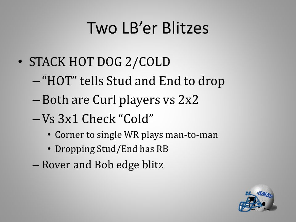 "Two LB'er Blitzes STACK HOT DOG 2/COLD – ""HOT"" tells Stud and End to drop – Both are Curl players vs 2x2 – Vs 3x1 Check ""Cold"" Corner to single WR pla"