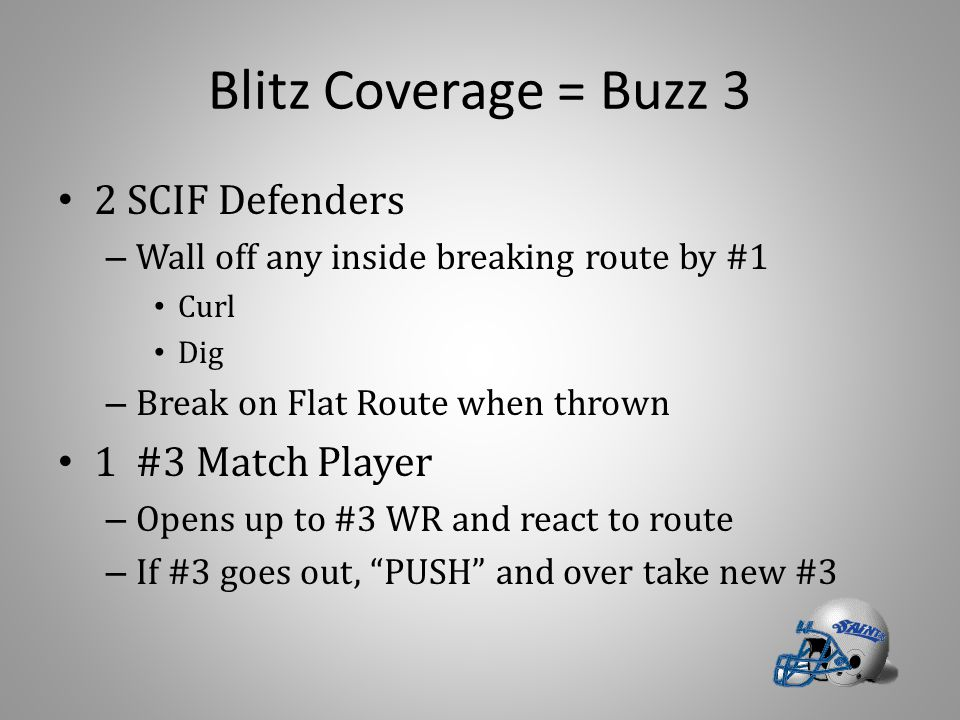 Blitz Coverage = Buzz 3 2 SCIF Defenders – Wall off any inside breaking route by #1 Curl Dig – Break on Flat Route when thrown 1 #3 Match Player – Ope