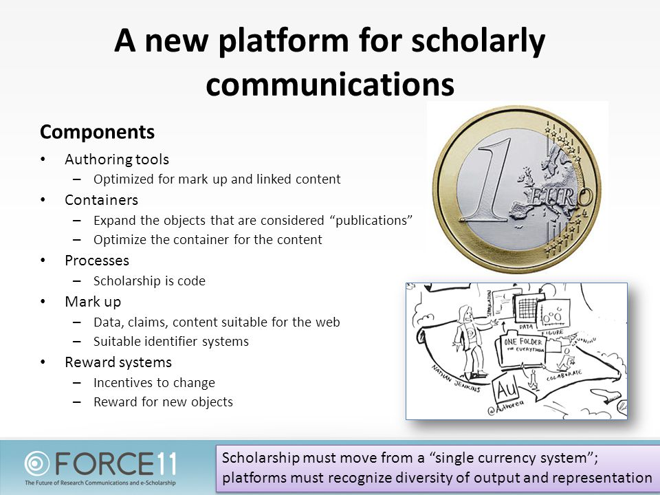 A new platform for scholarly communications Components Authoring tools – Optimized for mark up and linked content Containers – Expand the objects that are considered publications – Optimize the container for the content Processes – Scholarship is code Mark up – Data, claims, content suitable for the web – Suitable identifier systems Reward systems – Incentives to change – Reward for new objects Scholarship must move from a single currency system ; platforms must recognize diversity of output and representation