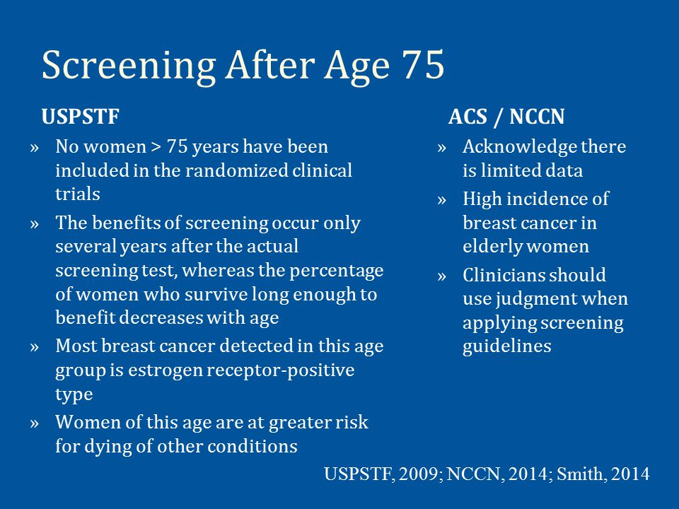CBE »USPSTF: Insufficient evidence to assess the additional benefits and harms of CBE beyond screening mammography; ACS / NCCN Recommend »Variation in how providers conduct a CBE »NCCN defines adequate breast exam as including upright and supine position during exam, appearance of breast and palpation of all components of the breast »No disagreement that mammography can detect breast cancer up to two years before it could be detected by CBE USPSTF, 2009; NCCN, 2014