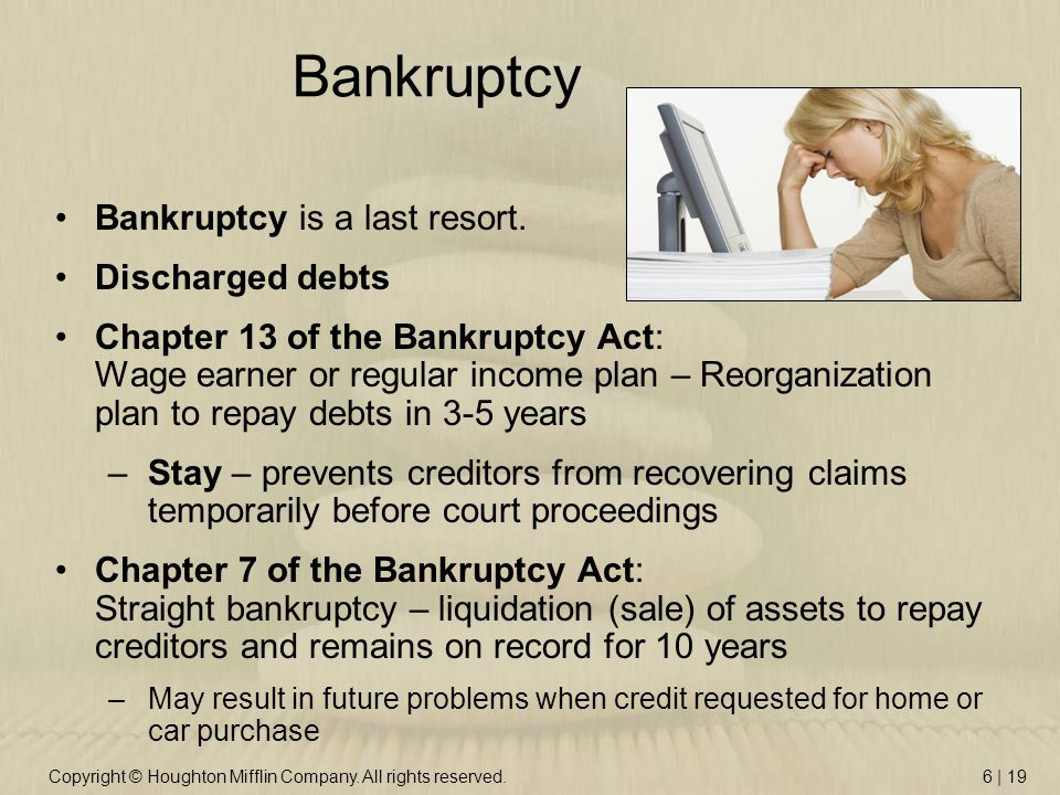 Copyright © Houghton Mifflin Company. All rights reserved.6 | 19 Bankruptcy Bankruptcy is a last resort. Discharged debts Chapter 13 of the Bankruptcy