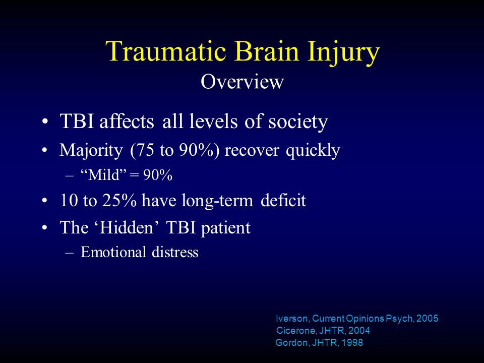 Traumatic Brain Injury Overview TBI affects all levels of society Majority (75 to 90%) recover quickly – Mild = 90% 10 to 25% have long-term deficit The 'Hidden' TBI patient –Emotional distress Iverson, Current Opinions Psych, 2005 Cicerone, JHTR, 2004 Gordon, JHTR, 1998