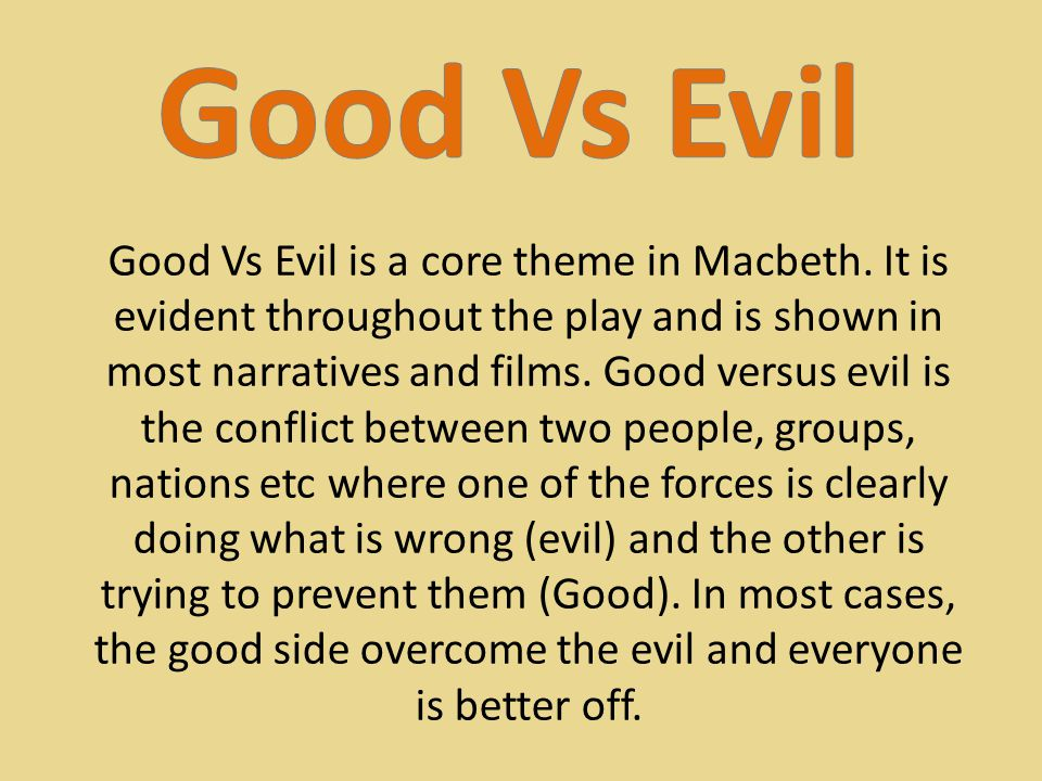 an analysis of the good versus evil theme in macbeth