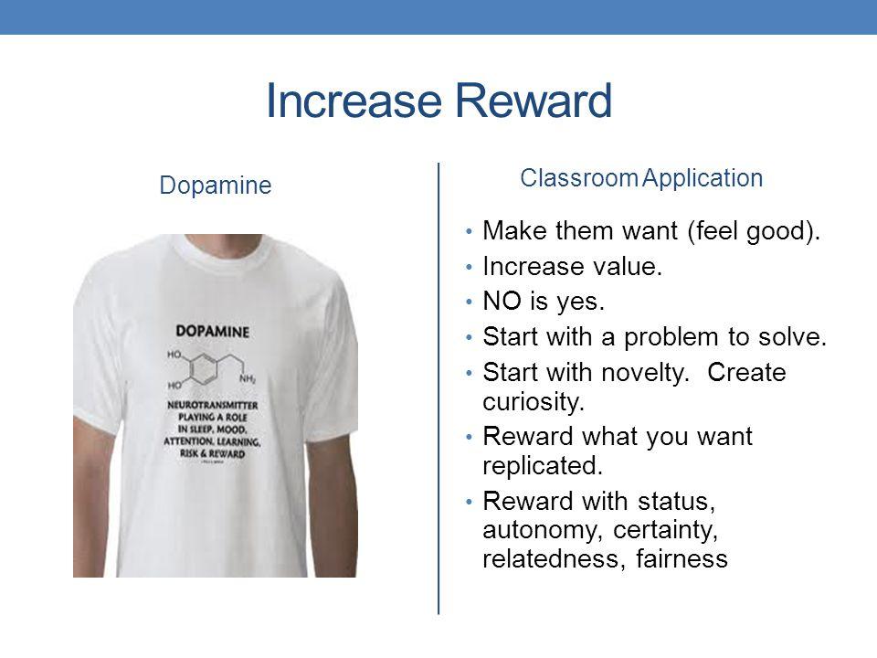 Increase Reward Dopamine Classroom Application Make them want (feel good).