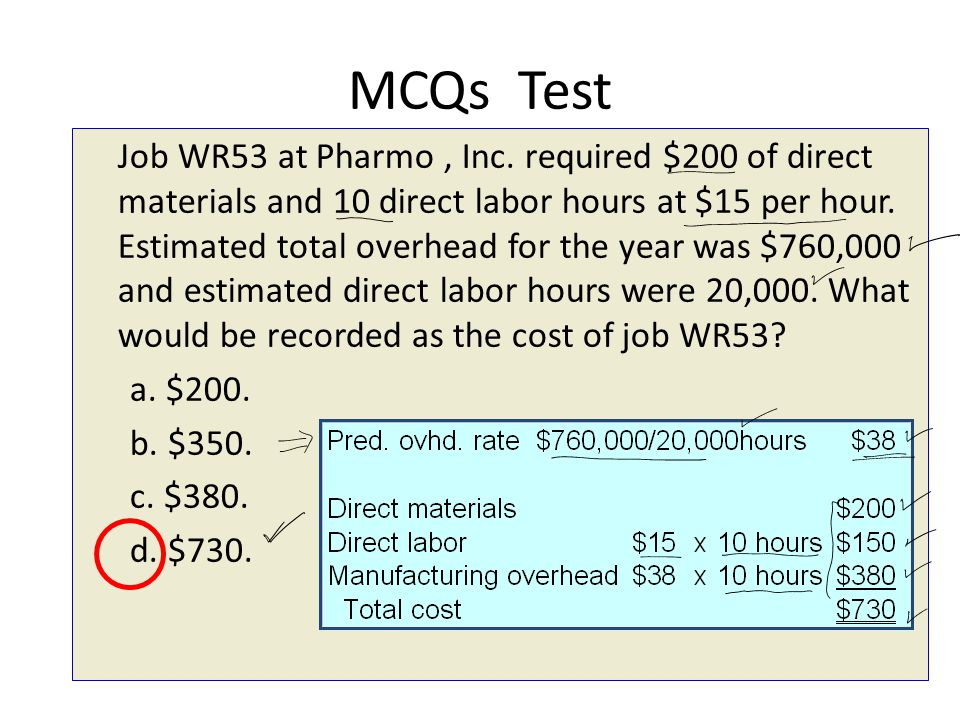 MCQs Test Job WR53 at Pharmo, Inc. required $200 of direct materials and 10 direct labor hours at $15 per hour. Estimated total overhead for the year