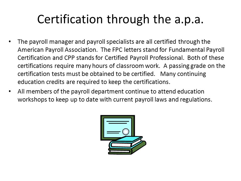 Certification through the a.p.a.