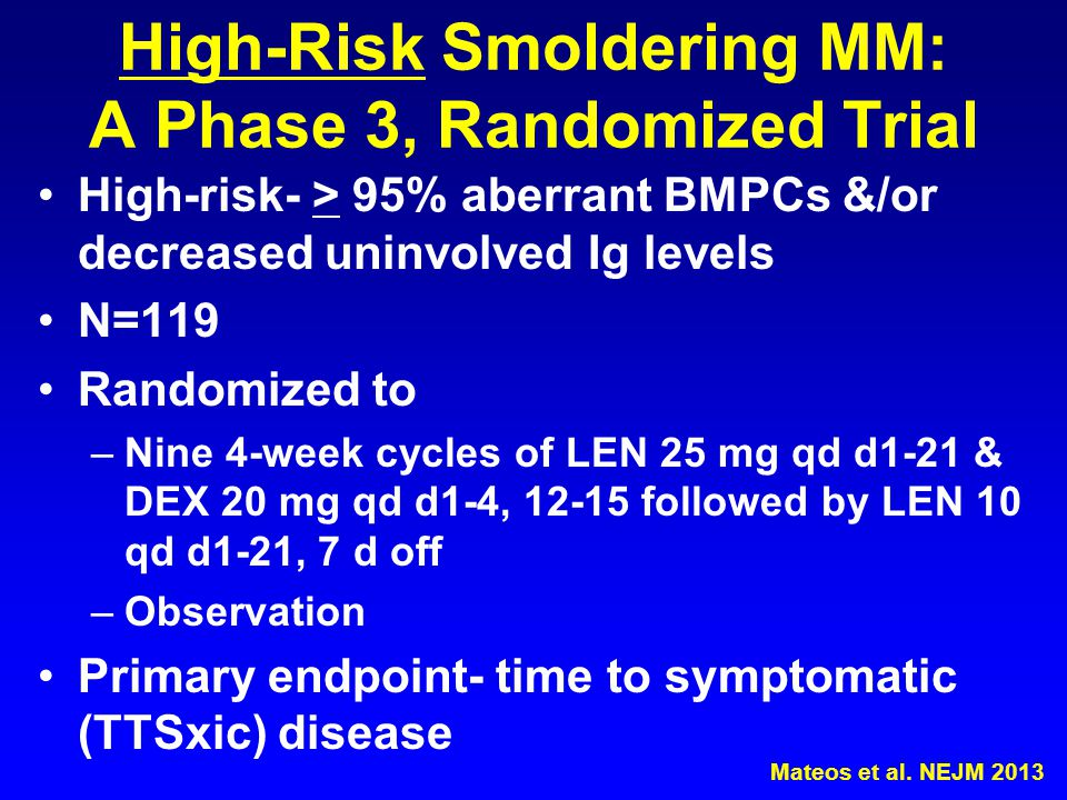High-Risk Smoldering MM: A Phase 3, Randomized Trial High-risk- > 95% aberrant BMPCs &/or decreased uninvolved Ig levels N=119 Randomized to –Nine 4-w