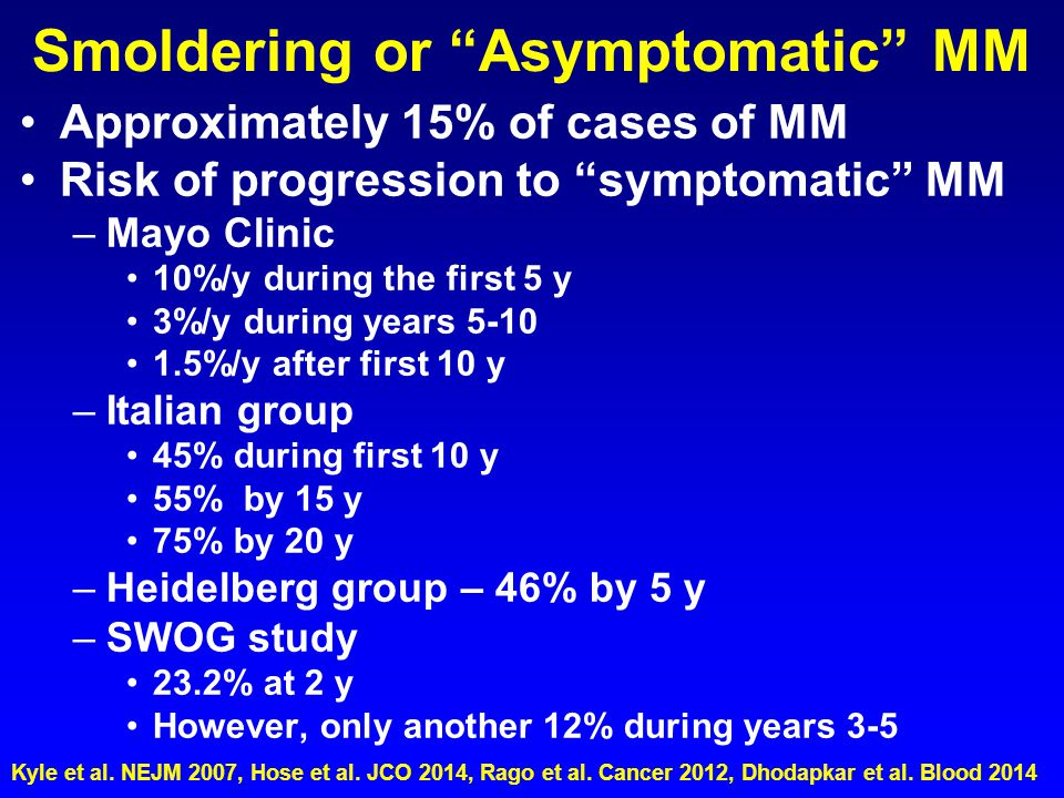 "Smoldering or ""Asymptomatic"" MM Approximately 15% of cases of MM Risk of progression to ""symptomatic"" MM –Mayo Clinic 10%/y during the first 5 y 3%/y"